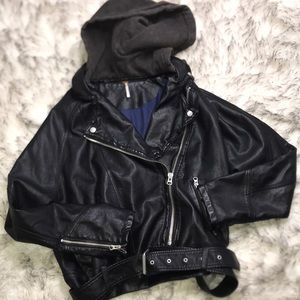 Free People Oversized Hooded Vegan Leather Jacket